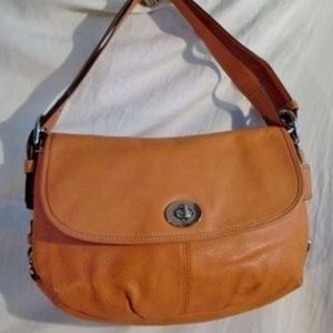 COACH F15170 LEATHER Flap DUFFLE Saddle Bag Purse